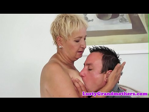 Chubby grandma riding younger mans cock